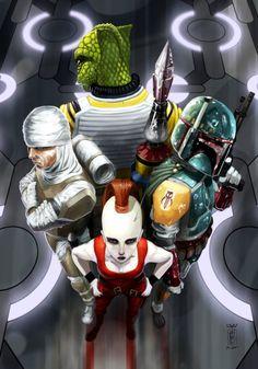 The Bounty Hunters digital illustration, auras, artworks, illustrations, yvan quinet, starwar, boba fett, star wars, bounti hunter