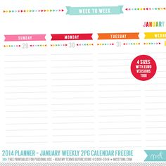 2014 Planner – Free Printables! | MissTiina.com {Blog}