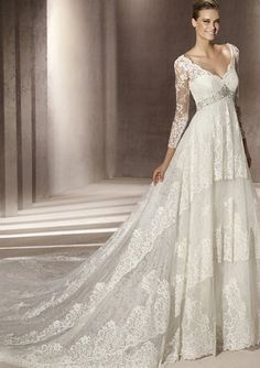A-Line/Princess V-neck Cathedral Train Satin Lace Wedding Dresses with Lace Beadwork