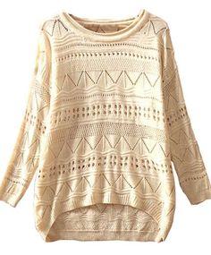 Sheinside Beige Geometric Eyelet Embellished Knit Jumper Sweater (One-Size, Beige) Sheinside http://www.amazon.com/dp/B00HQUPD9A/ref=cm_sw_r_pi_dp_Of9nub02H2088