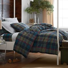 Claridge Plaid Flannel Duvet Cover | The Company Store