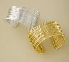 Gold Tone Adjustable Metal Cuff Bracelet--silver is pretty!