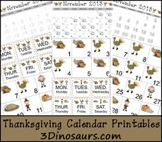 Free Thanksgiving Calendar Cards & Pages - 3Dinosaurs.com
