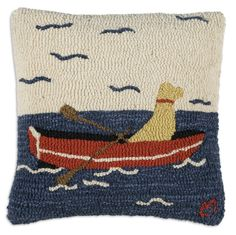 """Dog - Row Your Boat 18"""" Hook Pillow"""