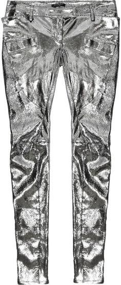 Balmain Metallic Leather Pants