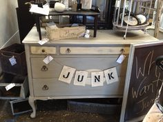 What do we want? JUNK! When do we want it? NOW! LOL! From Junk Bonanza featured in Junk Chic Cottage's blog