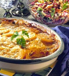This popular cool season comfort food casserole recipe is an ideal accompaniment with many main dishes. Provide a large serving spoon  to scoop up the flavorful sauce.