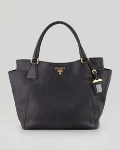 Daino Side-Pocket Tote Bag, Black by Prada at Neiman Marcus.