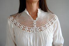 crochet lace detail blouse