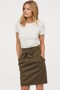 Skirt with Tie Belt - Dark khaki green - Ladies | H&M US 1