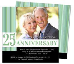 Wedding Anniverary Invitations Templates : Happiness 25th Wedding Anniversary Party Invitation Printable Template