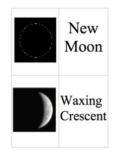 Use these cards for your students to play a matching game about the moon phases. I use them to review moon phases, but they are also used for an ex...