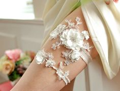 Pearl and Crystal Wedding Garter Set lace, pearl, wedding garters, wedding ideas, weddings, wedding garter set, wedding flowers, bridal garters, bridal accessories