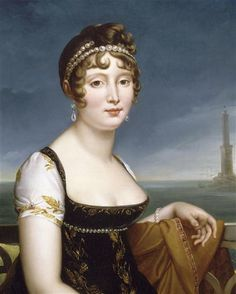 Caroline Murat before the Bay of Naples by François-Pascal-Simon Gérard.  Gérard shows Caroline in a dark dress with short sleeves and pearl bandeaux in her hair complenting those at her waistline.