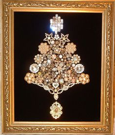 Vintage Jewelry SILVER & WHITE CHRISTMAS Framed Jeweled Christmas Tree What to do with all of Grandma's jewelry ... put it on display
