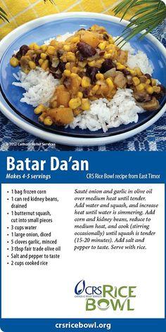 Batar Da'an from East Timor - CRS Rice Bowl