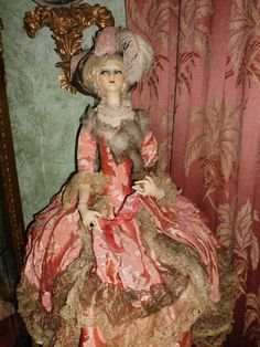 All Original Fashionable French Boudoir Doll, 1920 Marie Antoinette