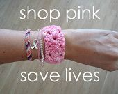 Support AMERICAN CANCER SOCIETY - Breast Cancer ombre pink crochet bracelet