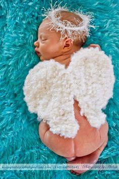 Crochet Angel wings Halo,newborn photography prop baby photo prop. $21.99, via Etsy.