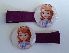 2 Boutique Girl Hair Clips Princess Sofia the First Purple Amulet Party Favors. $3.99, via Etsy.