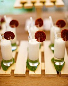 Who's ready for a snack? Miniature vanilla milkshakes and chocolate chip cookies