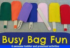 Busy Bag activities for preschool and toddler