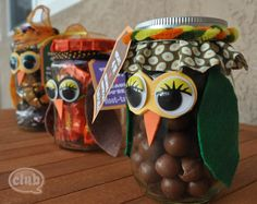 teacher gifts, craft, recycled jars, halloween candy, candies, candi jar, gift idea, owls, candy jars