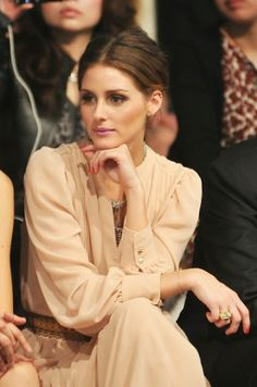 oliviapalermo, color, dress, red nails, style icons, pink lips, olivia palermo, closet, hair