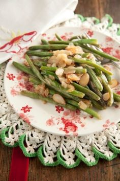 Green beans w/ almonds and caramelized onions