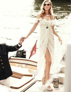 vogue, wedding dressses, fashion, style, dresses, toni garrn, beach weddings, clive owen, boat