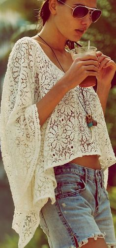 Lace Cropped Kaftan. Those Shorts aren't my favorite, but i'm liking that top(: