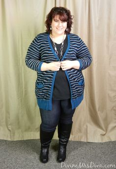 DivineMrsDiva.com - Cozy and Casual in Sejour Cardigan via @Gwynnie Bee , Lane Bryant tee, @Torrid jeggings, Avenue boots.