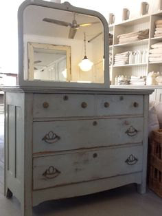 old gray painted dresser