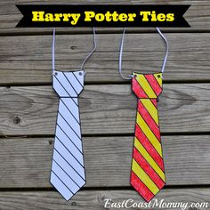 Harry Potter Ties (made from cardstock) with free printable templates