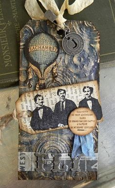 Masculine Vintage Tag...using Artistic Outpost stamps and lots of Tim Holtz goodness.