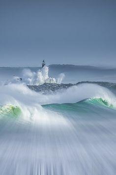 costa de, the wave, the ocean, lighthous, beauti, place, big waves, de cantabria, spain