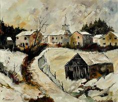 snow in sensenruth, painting by artist ledent pol