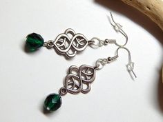 Emerald Green Celtic Earrings With Czech Glass by MURPHYSTREASURES, $12.00
