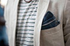 Linen jacket + denim pocket square.