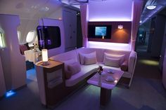 First-class cabin on the Airbus A-380, photograph by Gregory Bedenko