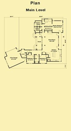 One Story Floor Plans, Country Cottage House Designs & Rear View Plans