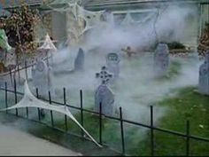 How to get spooky cemetery fog with a 10 Dollar Home Depot Irrigation tube and a fog machine.