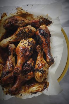 Miso hoisin chicken drumsticks.Bake at 200deg in the airfryer for 20 to 25 minutes. If it starts to smoke just try adding half a cup of water in the base of airfryer.
