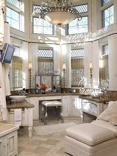 Beautiful Makeup Room-love all the natural light and windows