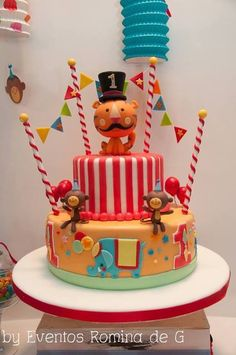 Cute circus birthday party cake!  See more party ideas at CatchMyParty.com!