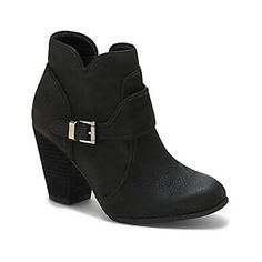 """HARLEN-Balancing priorities is tough work, but with the Harlen you get style, versatility and comfort. You'll want to roam around in this trendy low bootie with a popular block heel.  A wide buckle across the tongue and paneled construction are what make it such a prized possession. <li> 3"""" heel"""