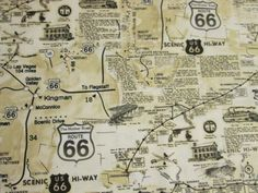 Hey, I found this really awesome Etsy listing at https://www.etsy.com/listing/153866096/route-66-map-historical-sites-tan-cotton
