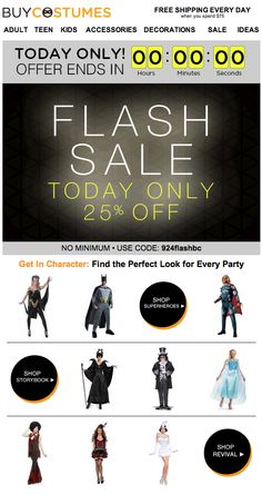 BuyCostumes.com used a countdown timer in this email to show how much time was left until the end of a Halloween flash sale.  #emailmarketing #countdownclock #realtime