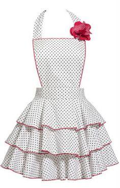 White Petite Dot {Vintage Apron}- idea