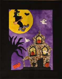 """Haunted House Button Quilt Pattern by Mouse Blankets at KayeWood.com. Pattern Quick assembly with raw edge appliqué, envelope construction, includes buttons.  Size: 9 1/4"""" x 11 3/4"""" http://www.kayewood.com/item/Haunted_House_Button_Quilt_Pattern/3608 $16.00"""